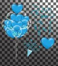 Confetti and set red ribbons. illustration bunch of Birthday transparent blue heart balloons isolated. Party decorations for
