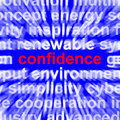 Confidence word shows self assurance composure showing and belief Royalty Free Stock Images