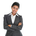 Confident african american businesswoman portrait of young in business suit isolated over white background mixed race asian indian Stock Photos