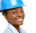 Confident african american woman architect smiling close up whit Stock Photography
