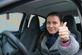 Confident Beautiful Brunette Woman driver Stock Image
