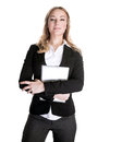 Confident business woman beautiful young with laptop in hands isolated on white background general manager in financial company Stock Images