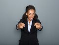 Confident business woman pointing finger close up portrait of a young fingers Royalty Free Stock Photography