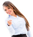 Confident business woman pointing to the camera isolated over white Stock Photography