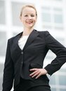 Confident business woman smiling outdoors portrait of a Royalty Free Stock Images
