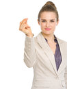 Confident business woman snapping fingers isolated on white Stock Photography