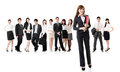 Confident business women with her team on white background Royalty Free Stock Images