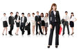 Confident business women with her team on white background Royalty Free Stock Image
