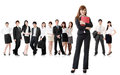 Confident business women with her team on white background Stock Photo