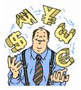 Confident businessman juggling currency symbols a happy and the for dollars rupees yen pounds and euros Royalty Free Stock Image