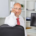 Confident businessman rest on chin portrait of mature sitting chair at desk in office Royalty Free Stock Photo