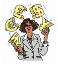 Confident businesswoman juggling currency symbols a and happy juggles the for rupees euros pounds dollars and yen Royalty Free Stock Image