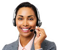 Confident call center representative wearing headset portrait of female against white background horizontal shot Royalty Free Stock Images