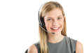 Confident customer service representative wearing headset close up portrait of female isolated over white background Stock Photography