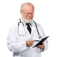 Confident doctor with health record Royalty Free Stock Photo