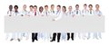 Confident doctors against white background large group standing Royalty Free Stock Photo