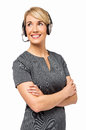 Confident female customer service representative wearing headset isolated over white background vertical shot Royalty Free Stock Photos