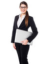 Confident female manager holding laptop bespectacled business executive Stock Images
