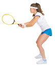Confident female tennis player in stance side view Stock Images
