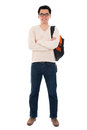 Confident full body asian adult student in casual wear with school bag standing isolated on white background male model Stock Photos