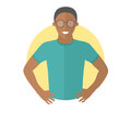Confident handsome black man in glasses. Flat design icon. Resolute boy with arms akimbo. Simply editable isolated vector illustra