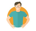 Confident handsome man in glasses. Flat design icon. Boy with arms akimbo. Simply editable isolated vector illustration