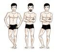Confident handsome men group standing in black underwear. Vector
