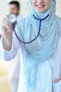 Confident Muslim medical student pose at hospital