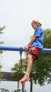 Confident preteen female in park Stock Images
