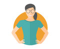 Confident pretty girl in glasses. Flat design icon. Woman with arms akimbo. Simply editable isolated vector illustration