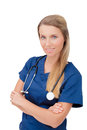 Confident smiling female doctor with stethoscope portrait of standing against isolated background Royalty Free Stock Image