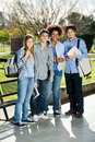 Confident students standing in campus full length portrait of college Royalty Free Stock Photography