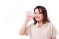 Confident successful middle aged woman showing ok hand sign gesture Royalty Free Stock Photography