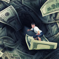 Confident surfer riding the tunnel of dollar bills Royalty Free Stock Photos