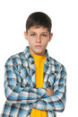 Confident teenager in checked shirt Stock Photo
