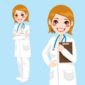 Confident woman doctor beautiful friendly and smiling holding clipboard and with arms crossed Royalty Free Stock Image