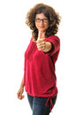 Confident woman thumb up portrait of attractive young showing a thumbs on white background Royalty Free Stock Images