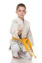 Confident young boy in kimono Royalty Free Stock Photo