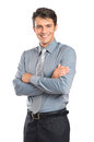 Confident young businessman portrait of happy with arm crossed isolated on white background Stock Images