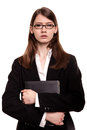 Confident young businesswoman / student arms crossed in Studio Royalty Free Stock Photo