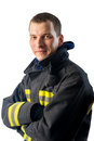 confident young Fireman on white background Royalty Free Stock Photo
