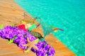 Configuración tropical de Pool Fotos de archivo libres de regalías