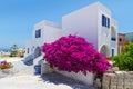 Configuración de la ciudad de Fira en la isla de Santorini Foto de archivo libre de regalías