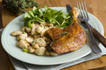 Confit duck leg with white beans and watercress Stock Photo