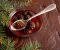 Confiture from fir cones the in dish on wooden table Stock Photography