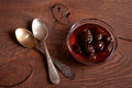 Confiture from fir cones the and two spoons Royalty Free Stock Images