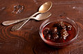 Confiture from fir cones the on wooden table Royalty Free Stock Image