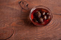 Confiture from fir cones the on wooden table Royalty Free Stock Photos