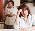 Conflict adults couple problems in family divorce between men and woman Royalty Free Stock Image