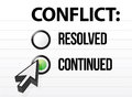 Conflict continues question and answer selection Royalty Free Stock Photo